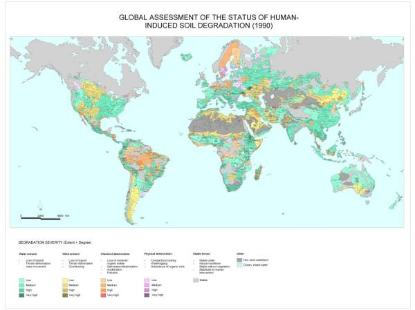 Global land degradation, including water and wind erosion, as estimated by GLASOD