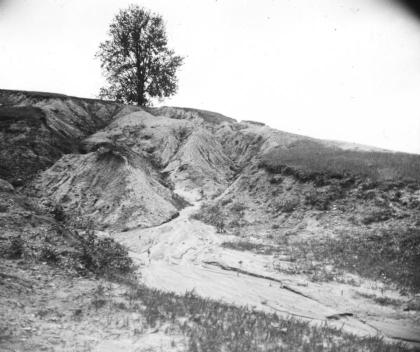 A gully in Indiana, USA, in the 1930s