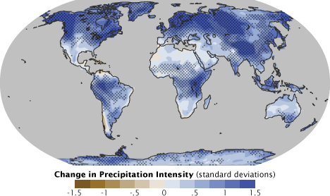 Predicted changes in precipitation intensity by the end of the 21st century. From NOAA Earth Observatory